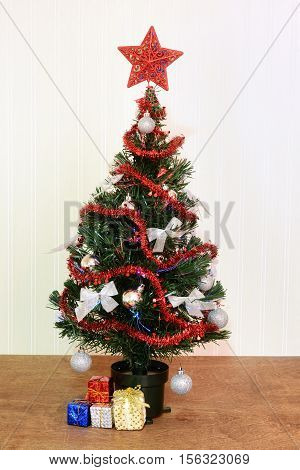 closeup of red and silver christmas tree