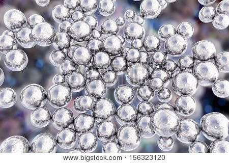 Silver nanoparticles. 3D illustration. Biotechnological and scientific background