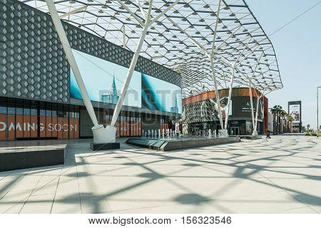 DUBAI - NOVEMBER 08 2016: LUMAS Dubai City Walk. New modern part of Dubai City. City Walk is reminiscent of European-style streets.