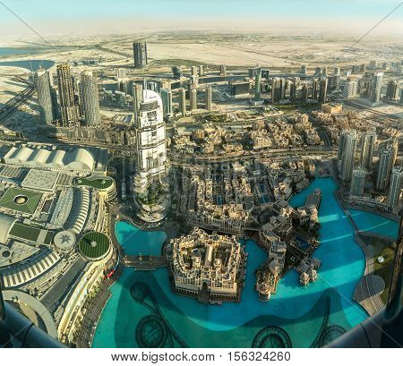 DUBAI UAE - NOVEMBER 8 2016: View on Dubai from the highest tower in the world Burj Khalifa. Panoramic view of Dubai from the largest skyscraper views from the 124 floor from a height of 450 m.