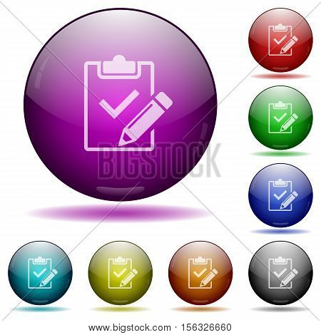 Fill out checklist color glass sphere buttons with sadows.