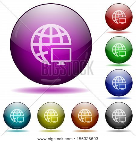 Remote terminal color glass sphere buttons with sadows.