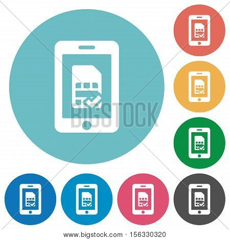 Mobile simcard verified white flat icons on color rounded square backgrounds