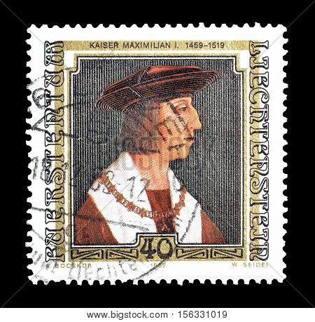 LIECHTENSTEIN - CIRCA 1982 : Cancelled postage stamp printed by Liechtenstein, that shows Painting of Kaiser Maximilian I.