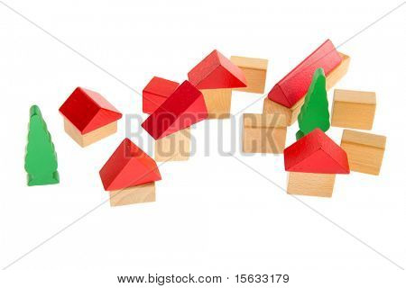 Village made with wooden blocs isolated over white background