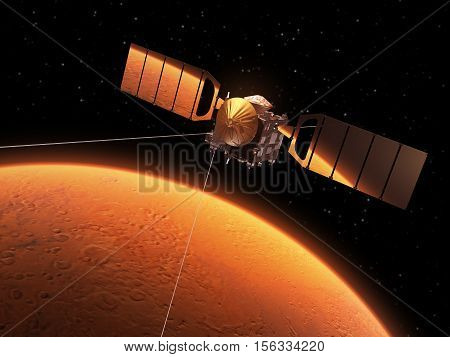 Red Planet Is Reflected In Solar Panels Of Interplanetary Space Station. 3D Illustration.