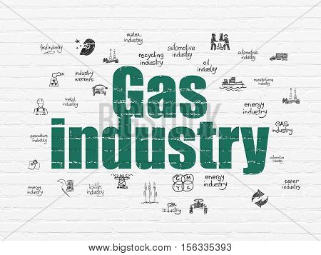 Industry concept: Painted green text Gas Industry on White Brick wall background with  Hand Drawn Industry Icons