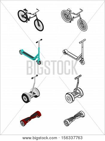 Vector illustration. Isometric set of colorful and outline icons of extreme sports transport. bicycle scooter gyroscooter electric scooter. 3D