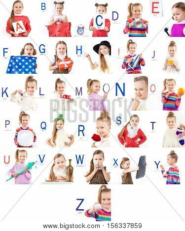 full English Alphabet collage of photos of the female child where every letter represented by word started with this letter, smart, preschool and education concept