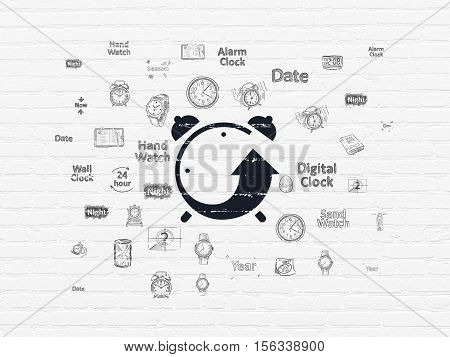 Time concept: Painted black Alarm Clock icon on White Brick wall background with  Hand Drawing Time Icons