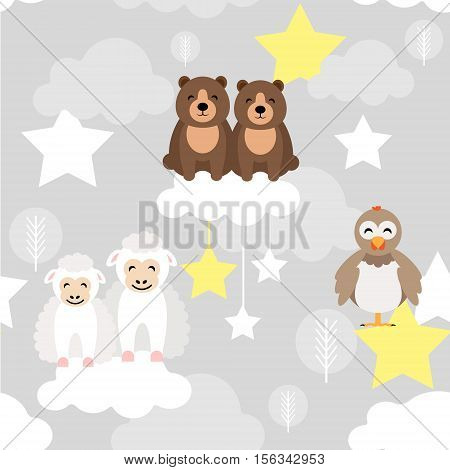 Cute animal kid vector seamless pattern with bear, chick, ewe lamb, stars and clouds