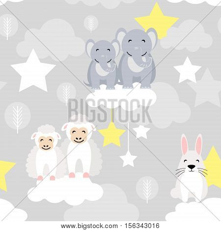 Cute animal kid vector seamless pattern with elephant, bunny, ewe lamb