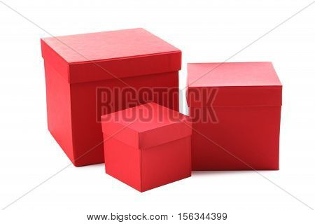 Stacks Of Red Boxes Isolated On A White