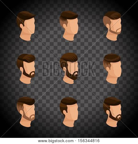 Popular isometrics men's hairstyles hipster style. Laying beard mustache. Modern stylish hairstyle young people fashion business a transparent background. Vector illustration.