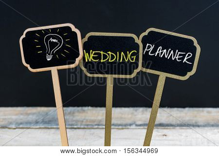 Concept Message Wedding Planner And Light Bulb As Symbol For Idea