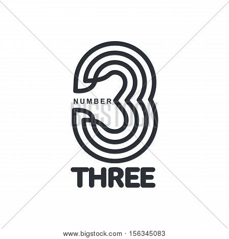 Black and white number three strips logo template, vector illustrations isolated on white background. Graphic logo with strips logo with three dimensional number three