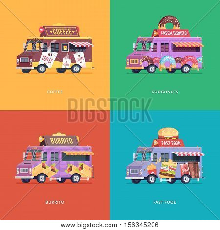 Set of flat food truck illustrations. Modern design concept compositions for coffee, doughnuts, burrito and fast food delivery wagon.