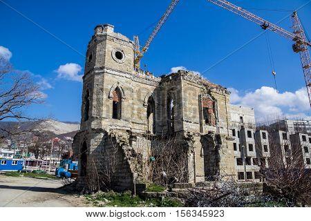 The ruins of an abandoned old castle - Golitsyn's estates in Novorossiysk