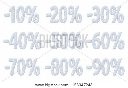 Winter sale retail commercial and business advertisement creative abstract concept christmas sale discount offer snowy special percent price cut off text made of snow collection isolated on white 3d illustration