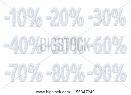 Winter retail sale commercial and business advertisement creative abstract concept christmas sale discount offer snowy special percent price cut off text collection made of snow isolated on white 3d illustration