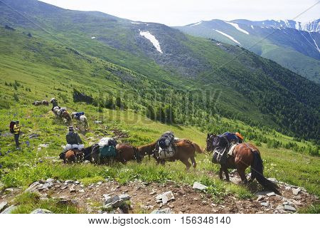 Trekking in Altai Mountains, Siberia, Russian Federation