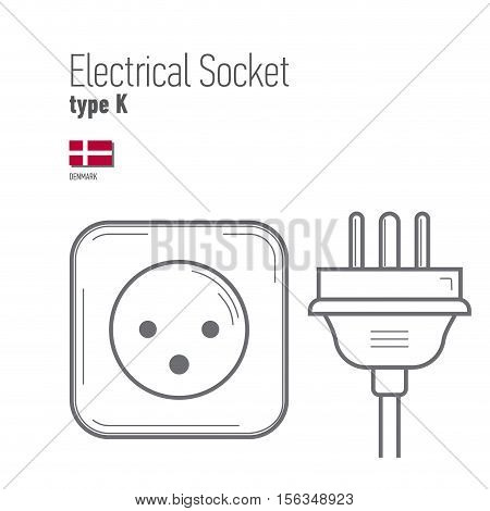 Switches and sockets set. Type K. AC power sockets realistic illustration. Different type power socket set vector isolated icon illustration for different country plugs.