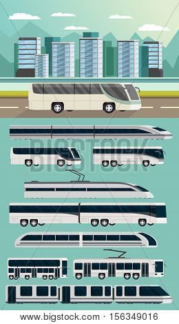 Public transport orthogonal concept with intercity bus composition set of automotive and railway vehicles isolated vector illustration