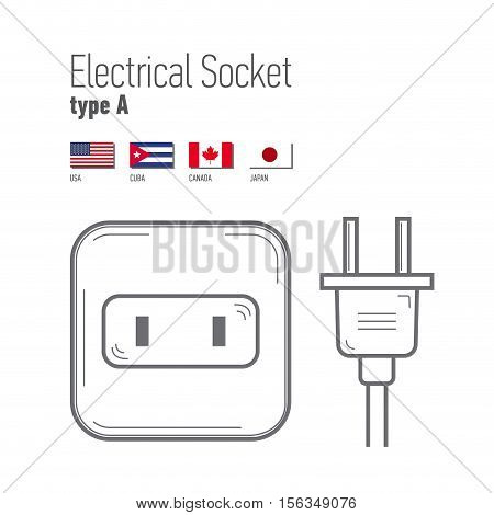 Switches and sockets set. Type A. AC power sockets realistic illustration. Different type power socket set vector isolated icon illustration for different country plugs.