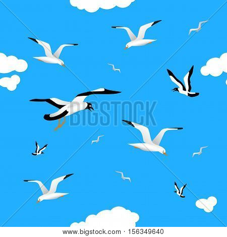 Gulls and clouds in the blue sky. Seamless pattern for your bekgraunda. Birds of different sizes flying across the sky. White clouds.