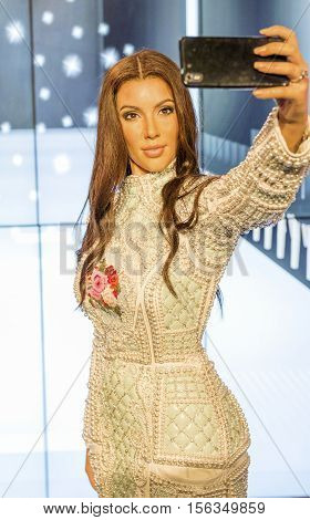 London, the UK-May 2016: Kim Kardashian  wax figure in Madame Tussaud's  museum