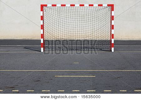 Red And White Urban Goalposts
