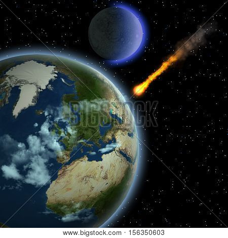 Earth Meteor 3D Illustration - A meteor hits Earth's atmosphere and heats up as it hurtles to the surface of our planet.