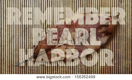 Remember Pearl Harbor. Camouflage Leaf and Bamboo