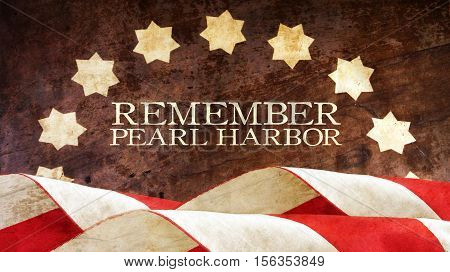 Remember Pearl Harbor. Usa Flag Waves on Wood