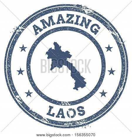 Vintage Amazing Lao People's Democratic Republic Travel Stamp With Map Outline. Lao People's Democra