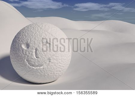 rendered smile snowball on the snowy field, 3d rendering