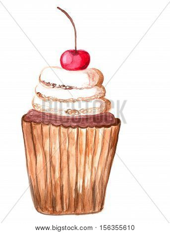 dessert cake watercolor illustration, yummy pie with cherry