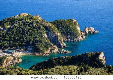 Landscape View Of Beautiful Ocean Cliffs In Paleokastritsa, Corfu