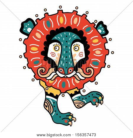 Abstract lion coloring page. Vector illustration of cute ornate abstract lion in Ukrainian style primitivism