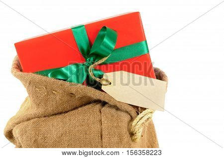 Mail Bag Or Santa Sack With Small Red Christmas Gift And Label Isolated On White Background