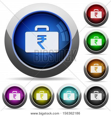 Indian Rupee bag icons in round glossy buttons with steel frames