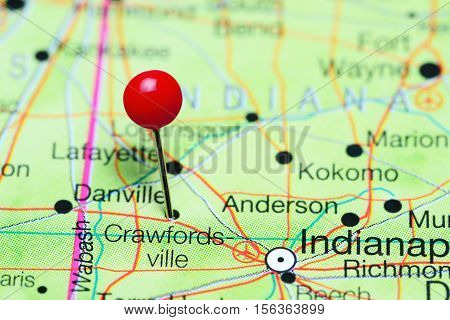 Crawfordsville pinned on a map of Indiana, USA