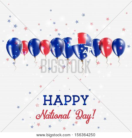 French Southern Territories Independence Day Sparkling Patriotic Poster. Happy Independence Day Card