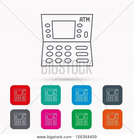 ATM icon. Automatic cash withdrawal sign. Linear icons in squares on white background. Flat web symbols. Vector