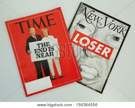 BROOKLYN, NEW YORK - NOVEMBER 13, 2016: Time and New York magazines issued before 2016 Presidential election on display in Brooklyn, New York after Election Day 2016