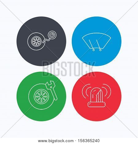 Wheel pressure, tire service and siren alarm icons. Car repair service station linear sign. Linear icons on colored buttons. Flat web symbols. Vector