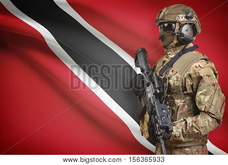 Soldier In Helmet Holding Machine Gun With Flag On Background Series - Trinidad And Tobago