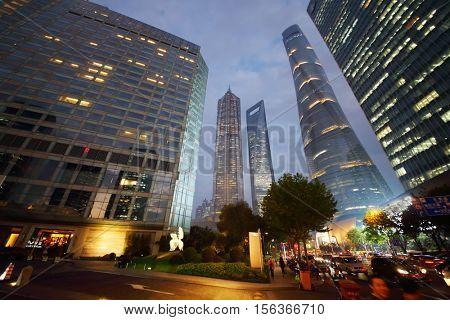 SHANGHAI, CHINA - NOV 5, 2015: Shanghai tower, Shanghai Jinmao Hotel and Shanghai World Financial Center at evening, Shanghai - financial and commercial center of China