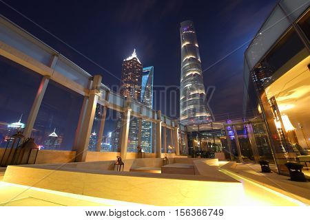SHANGHAI, CHINA - NOV 5, 2015: Shanghai tower, Shanghai Jinmao Hotel and Shanghai World Financial Center and terrace of IFC residence hotel, Shanghai - financial and commercial center of China