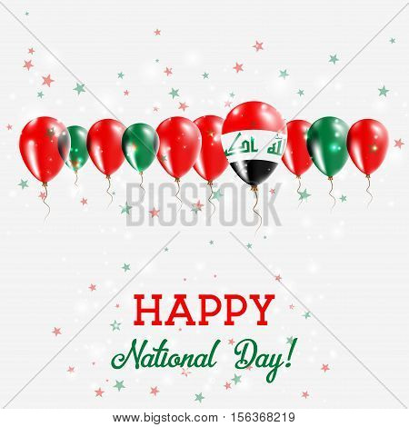 Iraq Independence Day Sparkling Patriotic Poster. Happy Independence Day Card With Iraq Flags, Confe
